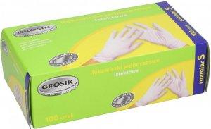 Rękawiczki lateksowe cienkie Grosik, rozmiar S, 100 sztuk, biały