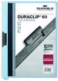 Skoroszyt plastikowy z klipsem Durable DuraClip, A4, do 60 kartek niebieski