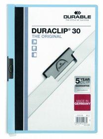 Skoroszyt plastikowy z klipsem Durable Duraclip, A4, do 30 kartek niebieski