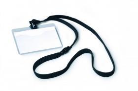 Identyfikator Durable, z taśmą, 90x60mm taśma czarna