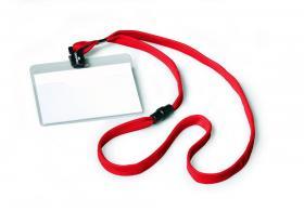 Identyfikator Durable, z taśmą, 90x60mm, 10 sztuk taśma czerwona