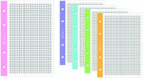 Wkład do segregatora w czarną kratkę Interdruk, A5, 50 kartek, kolorowy margines