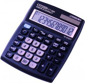 Kalkulator biurowy Citizen, CT-600J, 12 cyfr, czarny