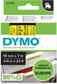 Taśma Dymo D1, 19mm x 7m, nadruk czarny, taśma-żółta