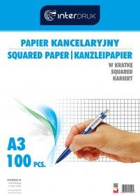 Papier kancelaryjny Interdruk, A3, w kratkę, 100 arkuszy