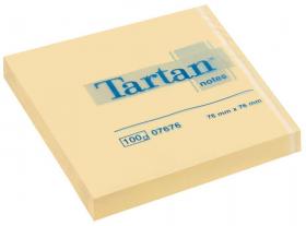 Notes samoprzylepny Tartan, 76x76mm, 100 karteczek, żółty