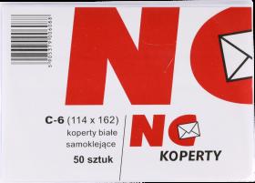 Koperta standardowa, NC, C6, samoklejąca SK, 50 sztuk, biały
