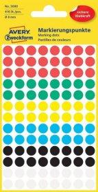 Etykiety Avery Zweckform, okrągłe, średnica 8mm, 416 sztuk, mix kolorów