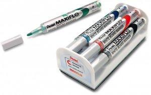 Marker suchościeralny Pentel Maxiflo MWL5S, z tłoczkiem, okrągła, 4 sztuki, 4mm, mix kolorów + gąbka magnetyczna