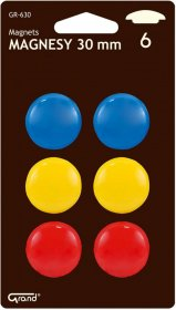 Magnes Grand, 30 mm, 6 sztuk, mix kolorów