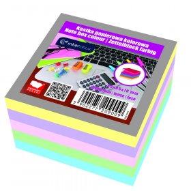 Kostka do notowania Interdruk, nieklejona, 85x85x70mm, 500 kartek, mix kolorów, pastelowy