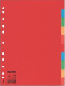 Przekładki kartonowe gładkie  z kolorowymi indeksami Esselte, A4, 10 kart, mix kolorów