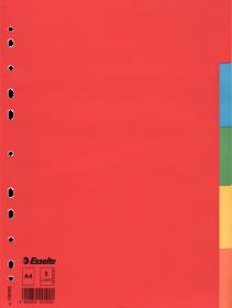 Przekładki kartonowe gładkie z kolorowymi indeksami Esselte, A4, 5 kart, mix kolorów