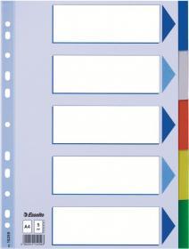 Przekładki plastikowe z kolorowymi indeksami Esselte, A4, 5 kart, mix kolorów