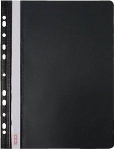 Skoroszyt plastikowy oczkowy Biurfol, twardy, A4, do 200 kartek, czarny
