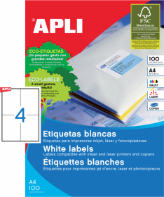 Etykiety uniwersalne Apli, 105x148mm, 100 arkuszy, biały