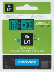 Taśma DYMO D1, 9mm x 7m, nadruk czarny, taśma-zielona