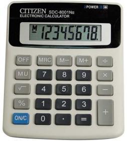 Kalkulator biurowy Citizen SDC 8001, 8 cyfr, szary