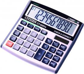 Kalkulator biurowy Citizen, CT-500V II, 10 cyfr, srebrny