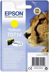 Tusz Epson T0714 (C13T071440), 5.5ml, yellow (żółty)