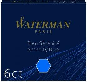 Naboje do piór Waterman, International, krótkie, 6 sztuk, niebieski