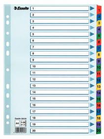 Przekładki kartonowe numeryczne z kolorowymi indeksami Esselte Mylar, A4, 1-20 kart, mix kolorów