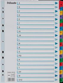 Przekładki kartonowe alfabetyczne z kolorowymi indeksami Esselte Mylar, A4, A-Z 20 kart, mix kolorów