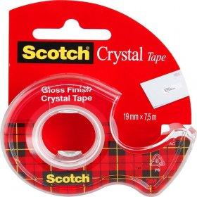 Taśma klejąca Scotch Crystal Clear, z podajnikiem, 19mm x 7.5m, przezroczysty