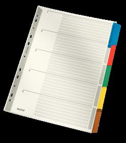 Przekładki kartonowe gładkie z kolorowymi indeksami Leitz, A4, 5 kart, mix kolorów