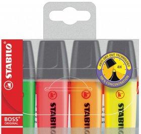 Zakreślacz Stabilo, Boss Original, ścięta, 4 sztuki, 5mm, mix kolorów