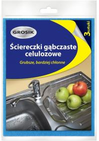 Ściereczki gąbczaste Grosik, celuloza, 19x15.5cm, 3 sztuki, mix kolorów