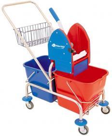 Wózek do sprzątania dwuwiadrowy chromowany Merida, 2x20l, prasa do mopów, metalowy koszyk