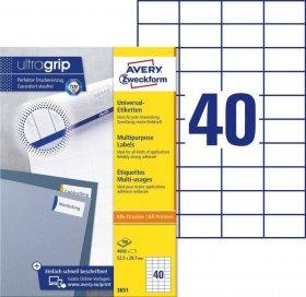 Etykiety uniwersalne Avery Zweckform, 52.5x29.7mm, 100 arkuszy, biały