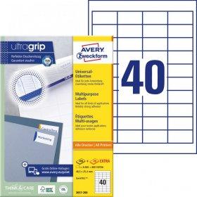 Etykiety uniwersalne Avery Zweckform, A4, 48.5x25.4mm, 100 arkuszy, biały