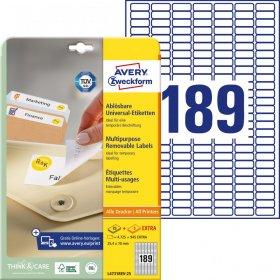 Etykiety uniwersalne usuwalne Avery Zweckform, 25.4x10mm, 25 arkuszy+5 gratis, biały