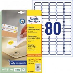 Etykiety uniwersalne usuwalne Avery Zweckform, 35.6x16.9mm, 25 arkuszy+5 gratis, biały