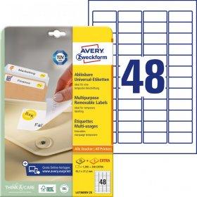 Etykiety uniwersalne usuwalne Avery Zweckform, 45.7x21.2mm, 25 arkuszy+5 gratis, biały