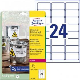 Etykiety poliestrowe Avery Zweckform Heavy Duty, wodoodporne, 63.5x33.9mm, 20 arkuszy, biały