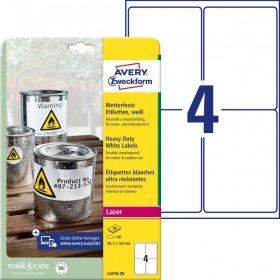 Etykiety poliestrowe Avery Zweckform Heavy Duty, wodoodporne, 99.1x139mm, 20 arkuszy, biały