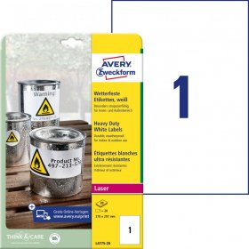 Etykiety poliestrowe Avery Zweckform Heavy Duty, wodoodporne, 210x297mm, 20 arkuszy, biały