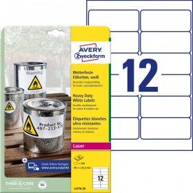 Etykiety poliestrowe Avery Zweckform Heavy Duty, wodoodporne, 99.1x42.3mm, 20 arkuszy, biały