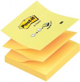 Notes samoprzylepny Post-it, harmonijkowy, 76x76mm, 100 karteczek, żółty pastelowy