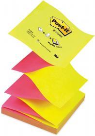 Notes samoprzylepny Post-it, harmonijkowy, 76x76mm, 100 karteczek, żółto-różowy neonowy