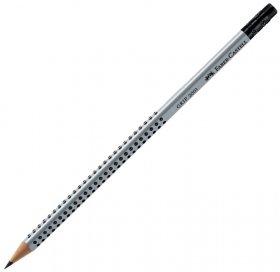 Ołówek z gumką Faber Castell Grip 2001, HB, srebrno-czarny