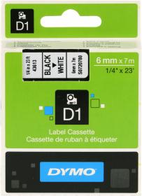Taśma do drukarek etykiet Dymo, D1, 6mm x 7m, nadruk czarny, taśma biała