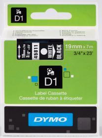 Taśma Dymo D1, 19mm x 7m, biały nadruk, taśma-czarna