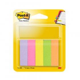 Zakładki samoprzylepne Post-it® proste, indeksujące, papier, 15x50mm, 5x100 znaczników, mix kolorów neonowych