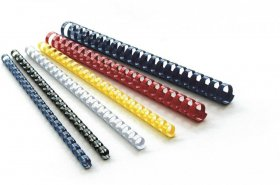 Grzbiety do bindowania Argo, plastik, 8mm, 100 sztuk czerwony