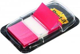 Zakładki samoprzylepne Post-it proste, indeksujące, folia, półtransparentne, 25x43mm, 1x50 sztuk, czerwony