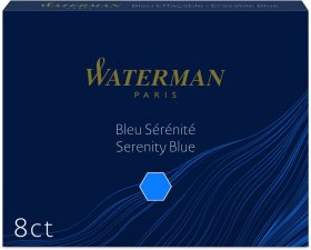Naboje do piór Waterman, Standard, długie, 8 sztuk, niebieski